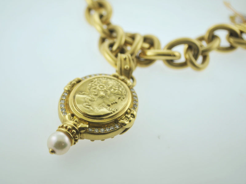 Contemporary Cameo Necklace with 24 Diamonds in 18K Yellow Gold -  $40K VALUE