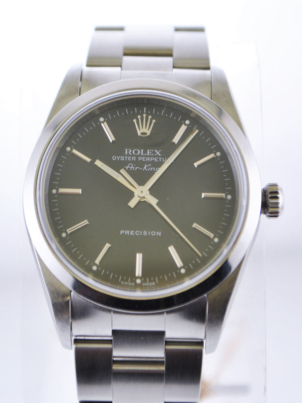 Rolex Oyster Perpetual Air-King Precision Black Dial Wristwatch Stainless Steel - $9K VALUE
