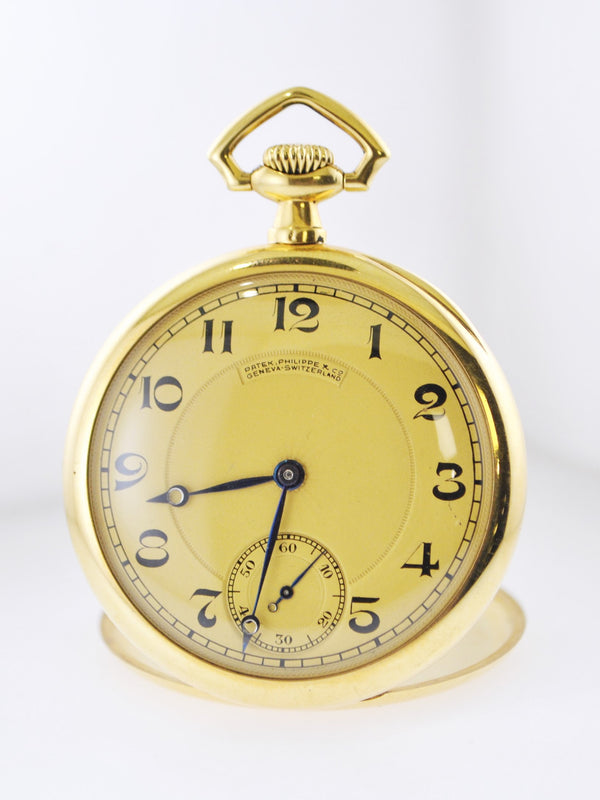 PATEK PHILIPPE 1920's Vintage 18K YG Engraved Pocket Watch w/ Sub-dial - $35K VALUE w/ CoA!