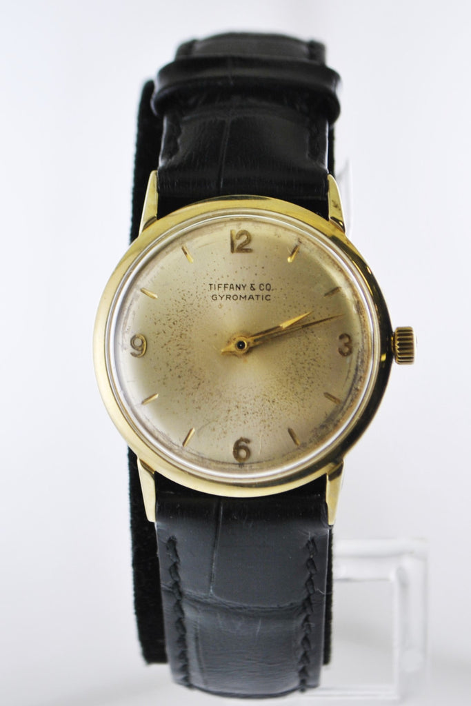 C.1940's Tiffany & Co Gyromatic Mechanic Wristwatch Round Case in Yellow Gold - $12K VALUE