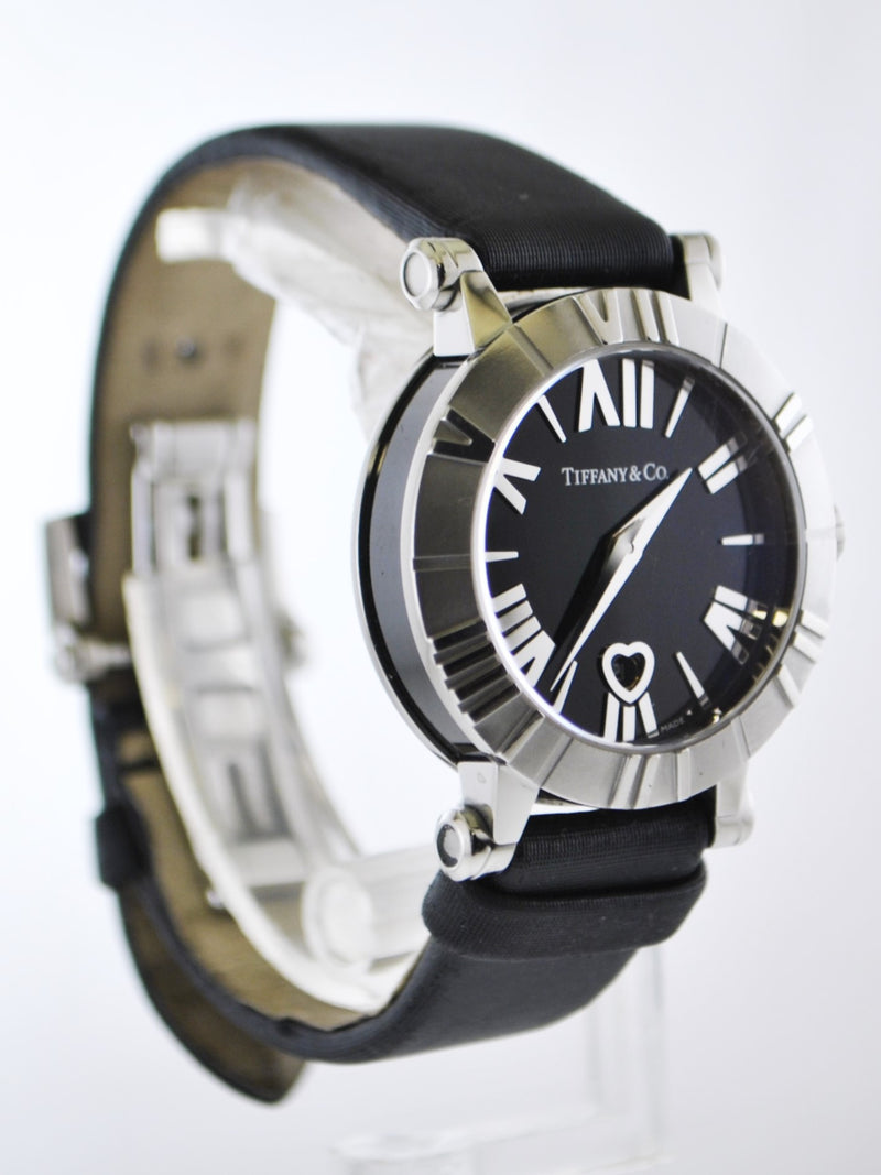 TIFFANY & CO. Atlas Quartz Wristwatch Round Case Water Resistant in Stainless Steel on Original Black Strap - $4K VALUE