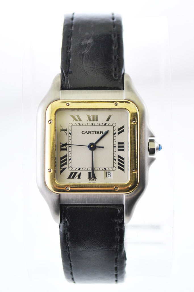 Cartier Panthere #1100 Two-Tone Square Ladies Wristwatch Quartz in Yellow Gold and Stainless Steel - $6K VALUE