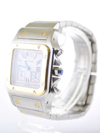 Cartier Santos Galbee Chronograph 2425 Two-Tone 18K Yellow Gold & Stainless Steel - $15K VALUE