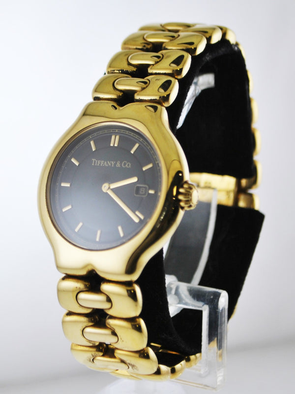 Tiffany & Co Tesoro #M0133 Quartz Lady's Wristwatch Round Case Black Face in 18 Karat Yellow Gold - $25K VALUE