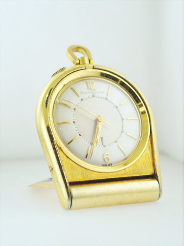 1950's Jaeger LeCoultre Memovox Travel Alarm Clock Gold Tone $8K VALUE