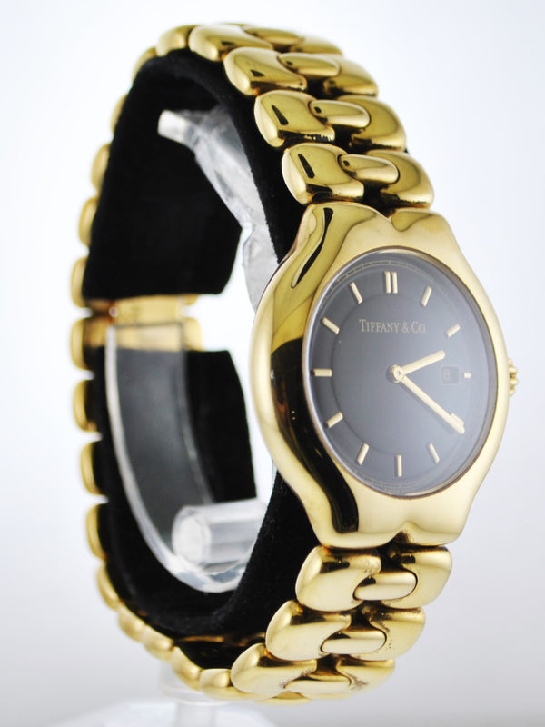 TIFFANY & CO. Tesoro #M0133 Quartz Lady's 18K Yellow Gold Wristwatch w/ Black Face - $25K VALUE