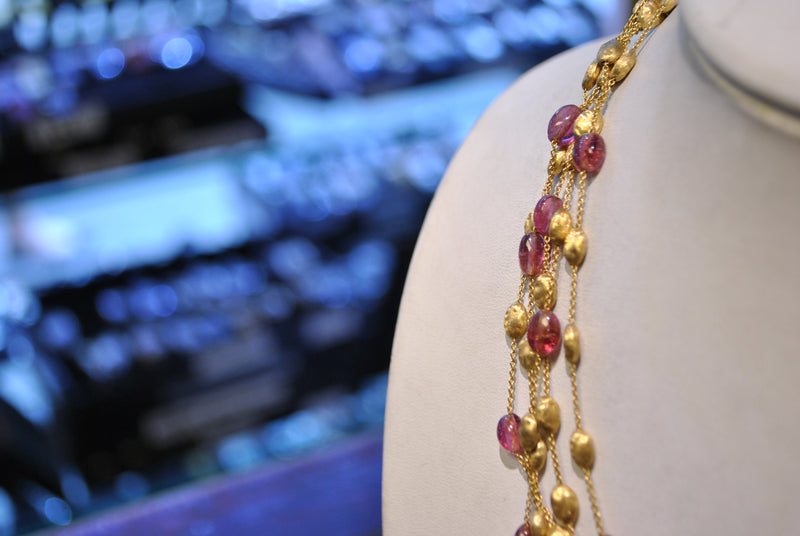 Marco Bicego Paradise Five Strand Amethyst Necklace in 18K Yellow Gold - $20K VALUE