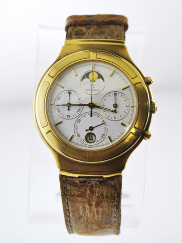 Eterna Airforce Chronograph Round Case Moon Phase Wristwatch in 18 Karat Yellow Gold - $15K VALUE