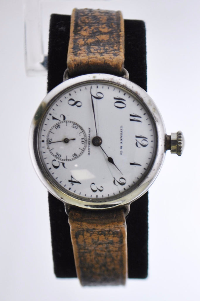 C.1950's Tiffany&Co Mechanic Wristwatch Pocket Watch Style Case w/Sub-dial in Sterling Silver - $15K VALUE
