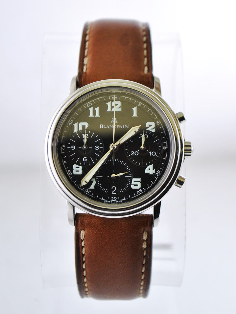 BLANCPAIN Rare Round Stainless Steel Chronograph w/ Black Dial - $30K Appraisal Value! ✓