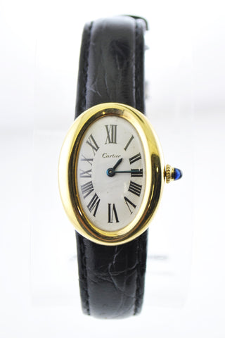Cartier Baignoire Mechanic Oval Ladies Wristwatch on Black Leather Strap in 18 Karat Yellow Gold - $40K VALUE