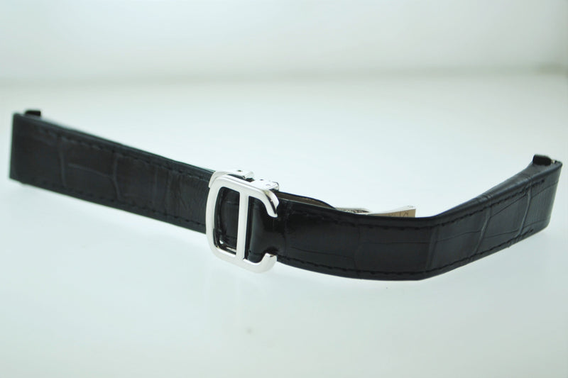 "Cartier Roadster Strap Original Black Alligator Leather With 18K WG Clasp 5,5"" $5K VALUE"