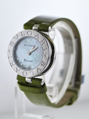Bvlgari Bulgari B.zero1 Wristwatch Round Case Pearl Dial Green Leather in Stainless Steel - $5K VALUE
