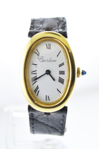 Cartier Baignoire Mechanic Oval Ladies Wristwatch on Original Black Leather Strap in 18 Karat Yellow Gold - $40K VALUE