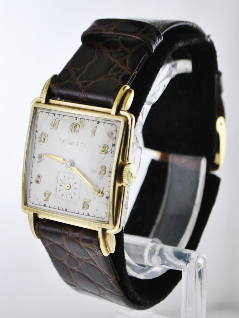 C.1950's Tiffany&Co Mechanic Wristwatch Square Case w/Sub-dial in Yellow Gold - $10K VALUE