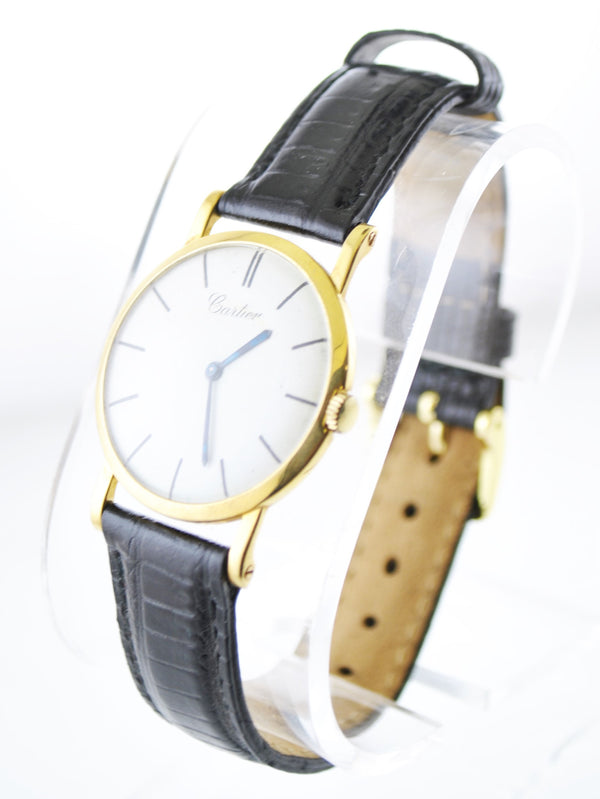 1930's Cartier Mechanic Round Wristwatch on Leather Strap in 18 Karat Yellow Gold - $40K VALUE