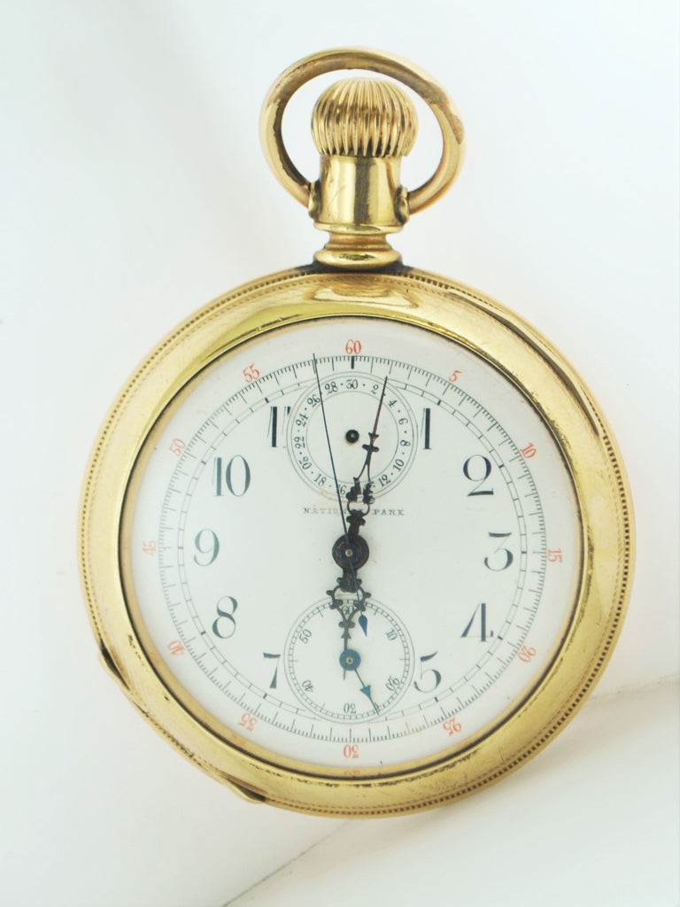 1920's National Park Pocket Watch Engraved Chronograph Brevete 359 - $13K VALUE