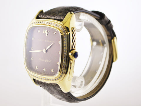 Contemporary David Yurman Thorough Bred Wristwatch Diamond 18 Karat Yellow Gold Cushion Case - $20K VALUE