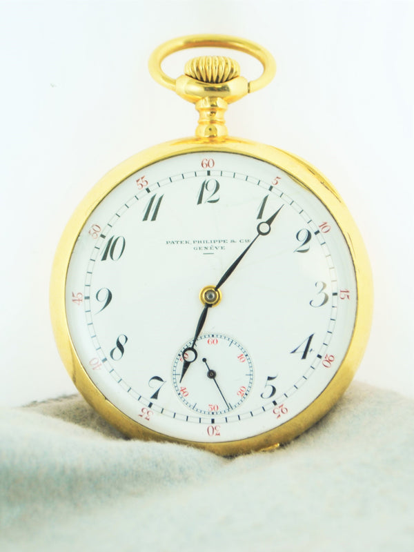 PATEK PHILIPPE & CIE Vintage 1915 Engraved 18K Yellow Gold Pocket Watch - $40K VALUE w/ CoA!