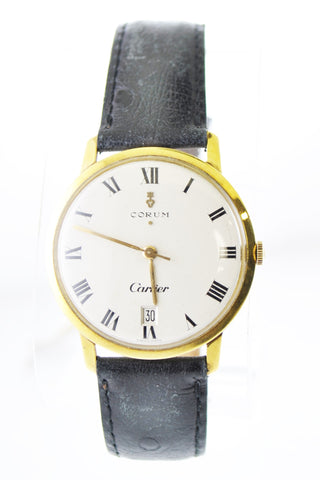 Corum & Cartier Mechanic Round Wristwatch on Leather Strap in 18 Karat Yellow Gold - $30K VALUE