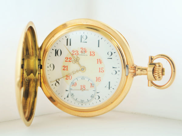 1900 Vintage Triple Signed Omega 14K Yellow Gold Pocket Watch with 24 Hour Arabic Dial - $20K VALUE