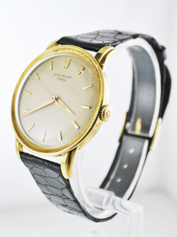 1950's Patek Philippe Large Wristwatch Ref. 2481 in 18 Karat Yellow Gold on Original Strap - $40K VALUE