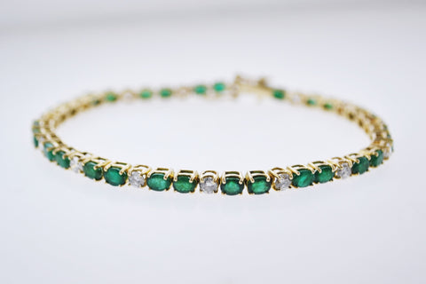 Contemporary Designer Handmade Tennis Bracelet with Diamond and Emerald in 18K Yellow Gold +13.5 TCW - $30K VALUE