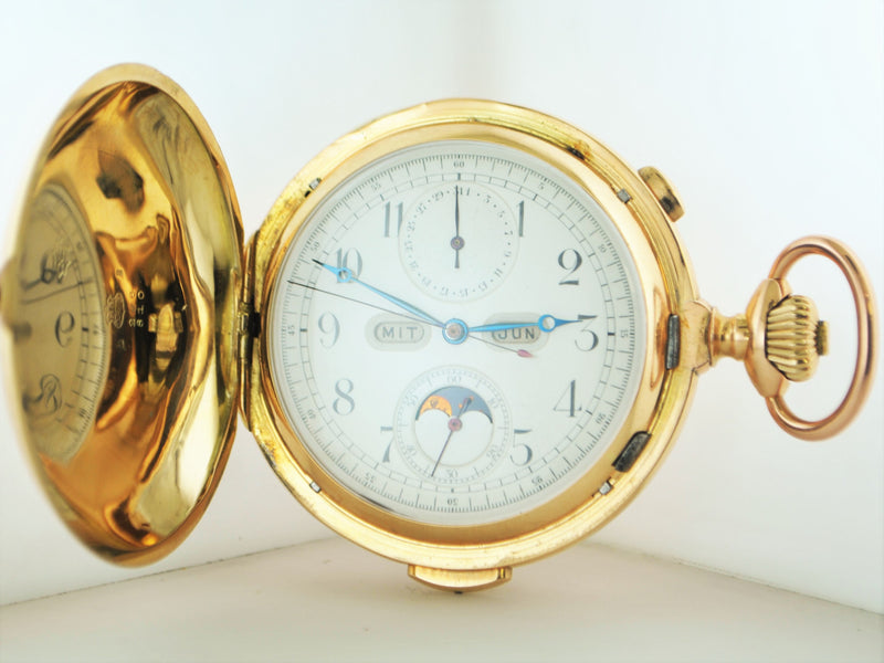 1896 14K Rose Gold Chronograph Pocket Watch with Hunting Case, Quarter Repeater, & Full Calendar - $50K VALUE