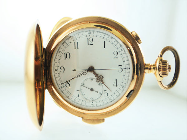 20th Century Tempora 14K Rose Gold Chronograph Pocket Watch with Minute Repeater & Hunting Case - $20K VALUE
