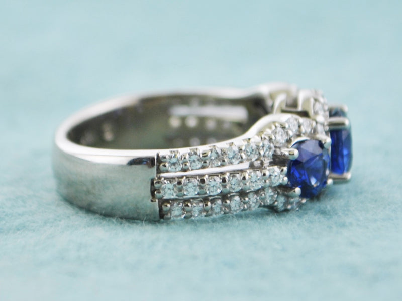 Designer Cocktail Sapphire and Diamond Ring in 18 Karat White Gold - $15K VALUE