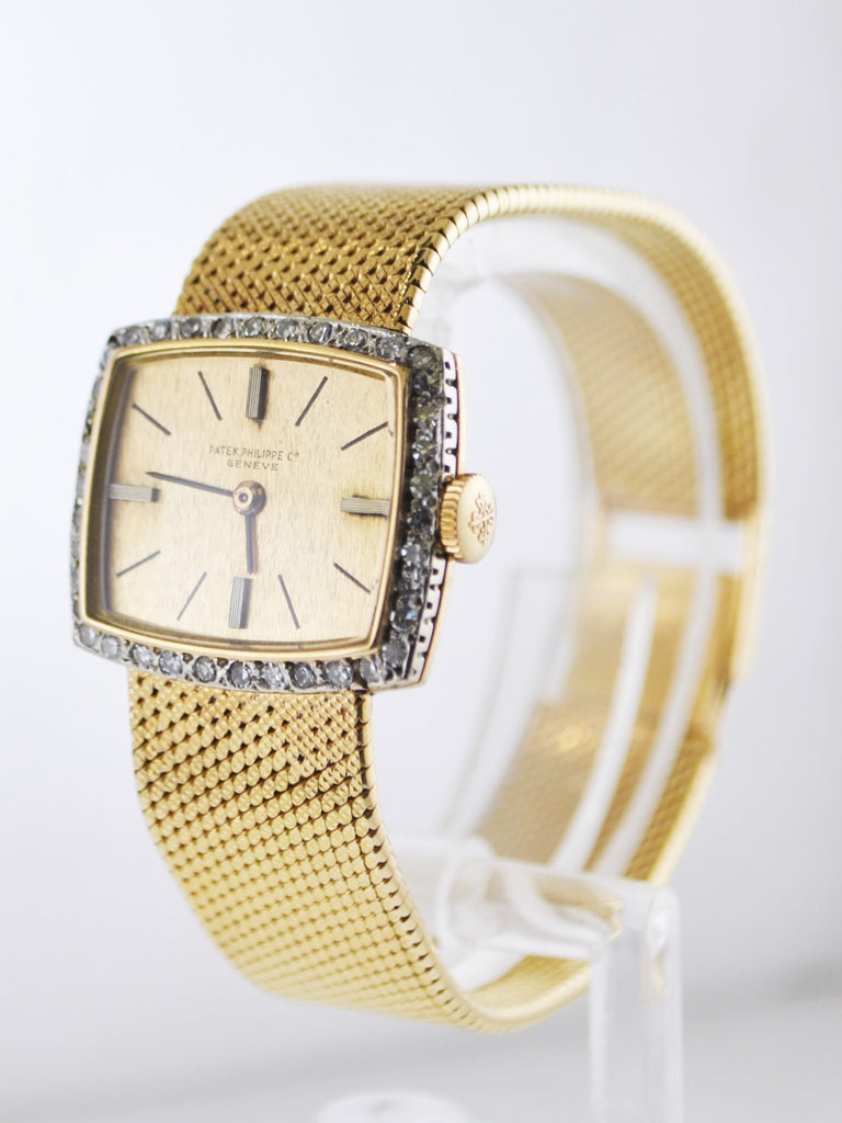 1950's Patek Philippe Diamond Cushion Case on Bracelet in 18 Karat Yellow Gold - $50K VALUE