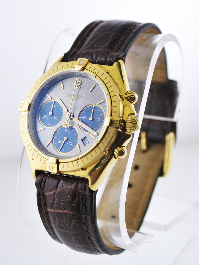 Breitling Sextant Chronograph Three Sub-dials Date Gray & Blue Dial in 18 Karat Yellow Gold - $24K VALUE
