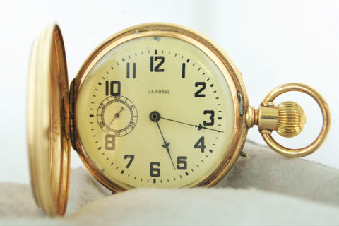 1890s La Phare Pocket Watch Minute Repeater in 18K Rose Gold Hunting Case with Hidden Picture - $30K VALUE