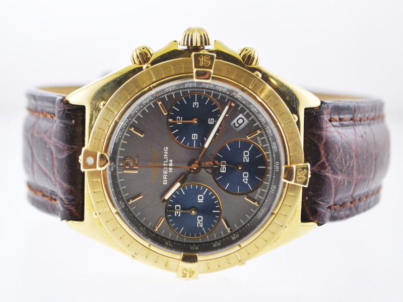 BREITLING Sextant 18K Yellow Gold Date Chronograph w/ Gray & Blue Dial, 3 Sub-dials - $24K VALUE