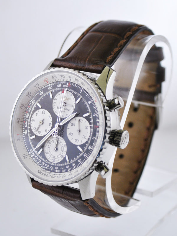 Breitling 1884 Chronometer Navitimer Black & White Dial on Brown Leather Strap in Stainless Steel - $15K VALUE