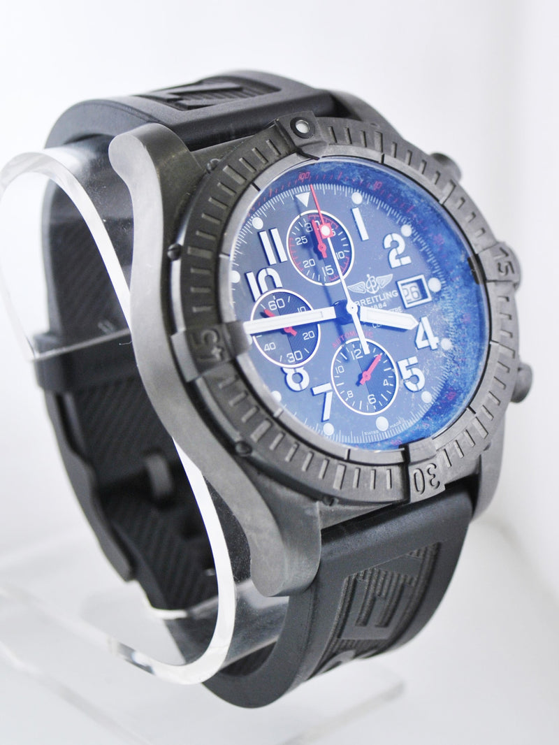 Breitling Chronograph Automatic Jumbo Wristwatch in Black PVD with Black Dial & 3 Subdials - $20K VALUE