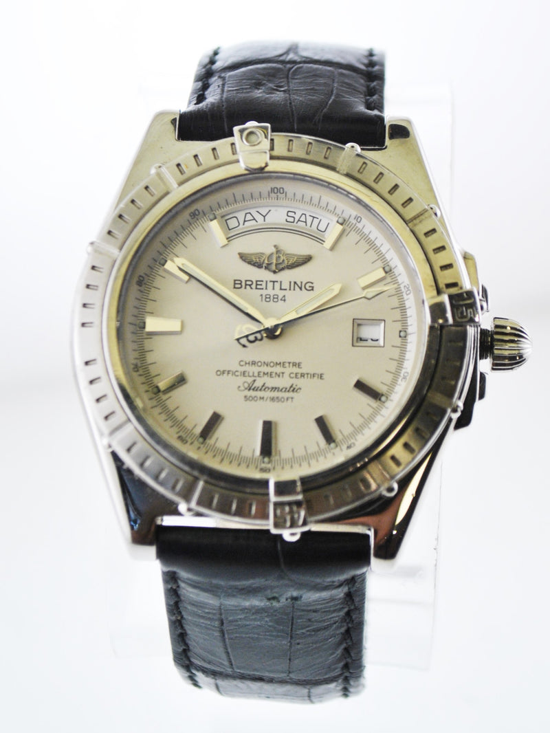 Breitling Chronometre Men's Automatic Wristwatch White Dial Day-Date in Stainless Steel - $10K VALUE