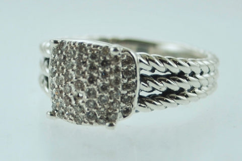 David Yurman Petite Wheaton Silver Ring with Diamonds - $2K VALUE