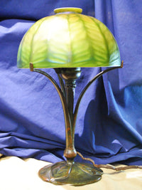 TIFFANY STUDIOS Vintage 1910's Lamp L.C.T. Favrile Glass and Bronze Three Leafs Base Signed - $30K VALUE*