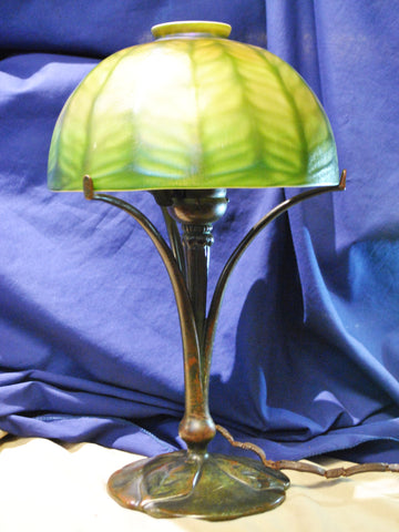 1910's Vintage Tiffany Studios Lamp L.C.T. Favrile Glass and Bronze Three Leafs Base Signed - $30K VALUE