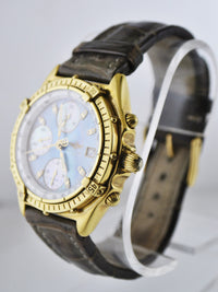 Breitling Chronograph Wristwatch with Special Blue Mother of Pearl & Diamond Dial in 18K Yellow Gold - $35K VALUE