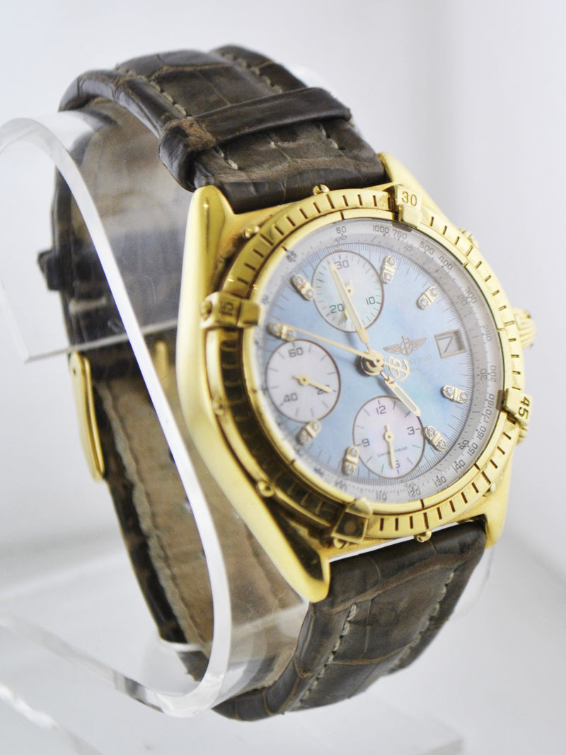BREITLING 18K Yellow Gold Chronograph Wristwatch w/ Special Blue Mother of Pearl & Diamond Dial - $35K VALUE