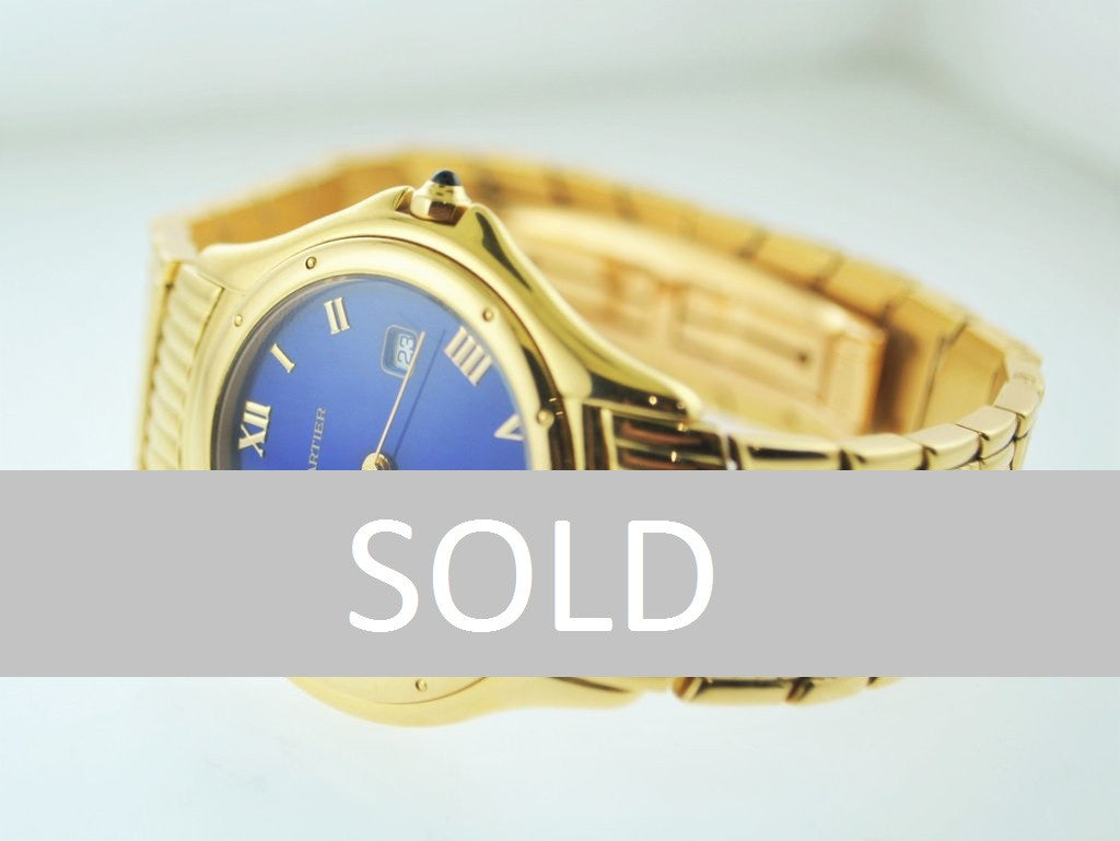 Cartier Cougar 18K Yellow Gold Men's Wristwatch with Very Unique Sapphire Style Dial - $35K VALUE