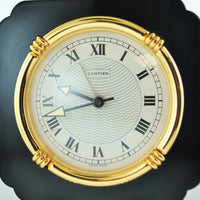 Contemporary Cartier Desk Table Clock Black Onyx & Gold Tone Style $5K VALUE
