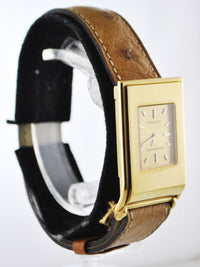 TIFFANY & CO. SCHLUMBERGER 18K Yellow Gold Rectangle Quartz Wristwatch on Original Ostrich Strap - $6K VALUE