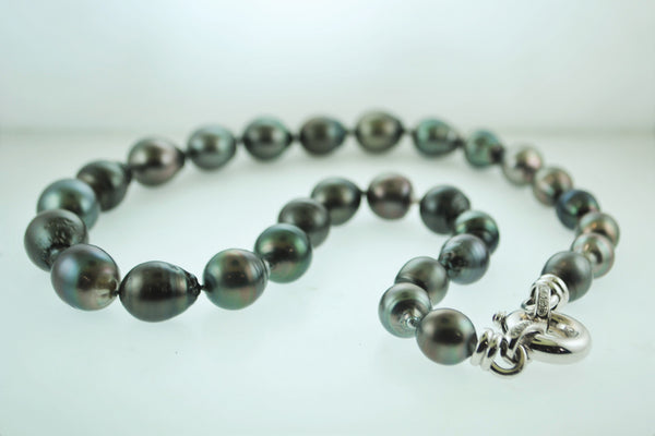 Contemporary Tahitian Baroque Pearl Necklace with Diamonds & White Gold Clasp - $20K VALUE