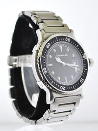Tiffany & Co Quartz Wristwatch #M0719 Black Rotating Bezel & Face Date Water Resistant Stainless Steel $6K VALUE