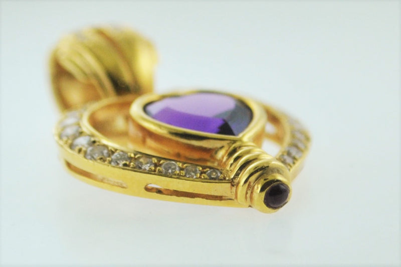 Contemporary Designer 18K Yellow Gold Pendant with Amethyst and Pave Set Diamonds - $8K VALUE