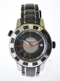 TIFFANY & CO. Rare Round SS Water Resistant Date Wristwatch w/ Grey Bezel & Face- $6K VALUE