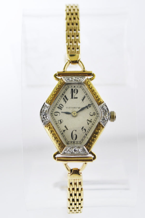 1917 Tiffany & Co Mechanic Small Rhombus Wristwatch Diamond Bezel Link Bracelet in Solid Yellow Gold - $20K VALUE